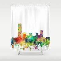oklahoma Shower Curtains featuring Oklahoma City, Oklahoma skyline SP by Marlene Watson