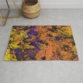Vivid - Abstract, textured painting in amber, yellow and blue Rug
