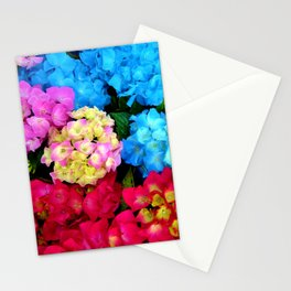 Red Blue Rose Flower Blossoms Hydrangeas Stationery Cards