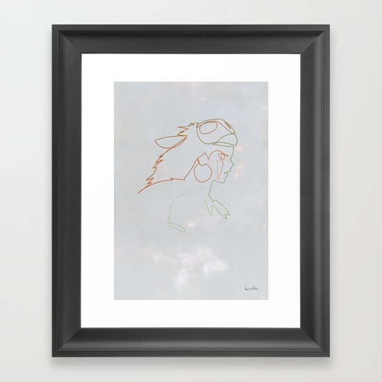 One line Mononoke Framed Art Print