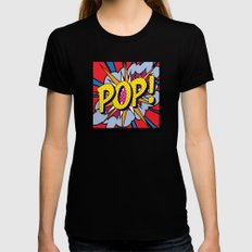 POP Art #4 LARGE Womens Fitted Tee Black