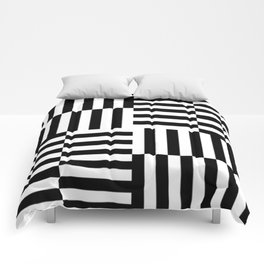 Geometrical abstract black white stripes pattern Comforters