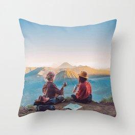 Sunset over Mount Bromo Throw Pillow