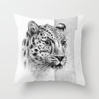 leopard Throw Pillows featuring Leopard by Anna Tromop Illustration