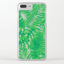 Tropical leaves pattern Clear iPhone Case