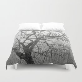 Black and white naked tree Duvet Cover