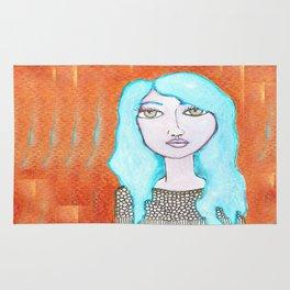 blue haired girl Rug
