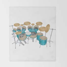 Green Drum Kit Throw Blanket
