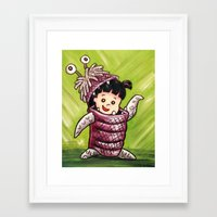 monster inc Framed Art Prints featuring B00 Monster's Inc by MSG Imaging