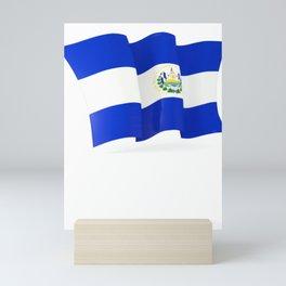 El Salvador Flag El Salvador Flag Waving Salvadoran Heritage product Mini Art Print