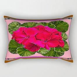 Red Geranium Flowers Green Leaves Still Life Abstract Rectangular Pillow
