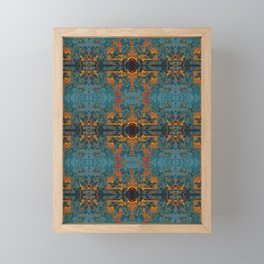 The Spindles- Blue and Orange Filigree  Framed Mini Art Print