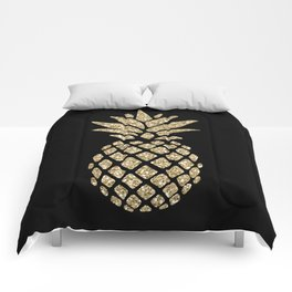 Gold Glitter Pineapple Comforters