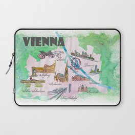 Vienna Favorite Travel Poster Map with touristic Top Ten Highlights Laptop Sleeve