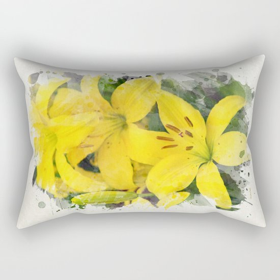 Lily Watercolor Art Rectangular Pillow
