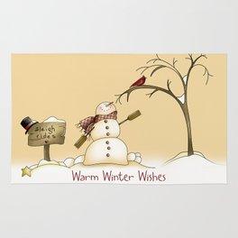 Warm Winter Wishes Snowman Sleigh Rides Red Bird Rug