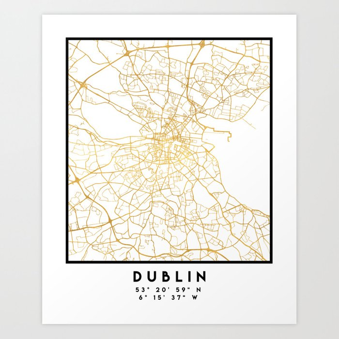 Map Of Ireland Print.Dublin Ireland City Street Map Art Art Print By Deificusart Society6
