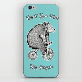 wont you ride my bicycle iPhone Skin