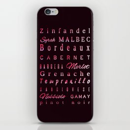 Red Wine Types Typography Poster iPhone Skin