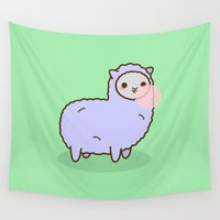 alpaca Wall Tapestries featuring Alpaca Blowing Bubble Gum by peppermintpopuk