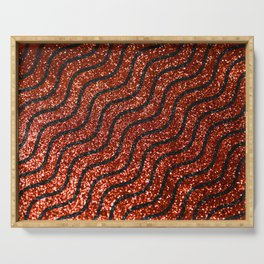 Red Glitter With Black Squiggle Pattern Serving Tray