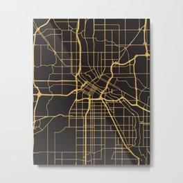 MINNEAPOLIS MINNESOTA GOLD ON BLACK CITY MAP Metal Print