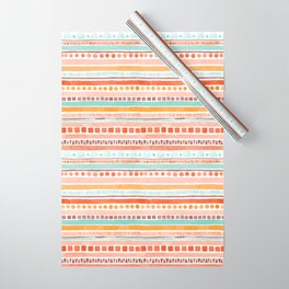 Boho Stripes - Watercolour pattern in rusts, turquoise & mustard. Nursery print Wrapping Paper