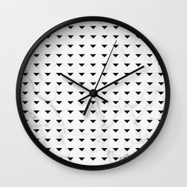 White Marble Black Abstract Triangle Pattern Wall Clock