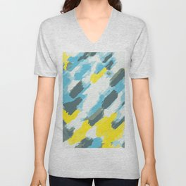 blue grey and yellow painting abstract background Unisex V-Neck