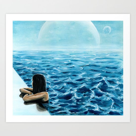 girl in the pool Art Print