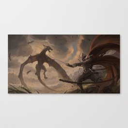 Grappling the Wyvern Canvas Print