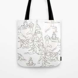 Yoga Asanas black on white Tote Bag