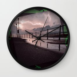 Lightening Strikes - Green Graphic Wall Clock
