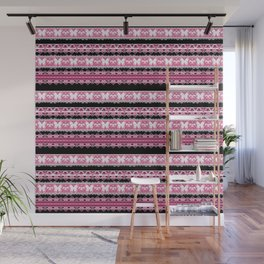 Black and pink striped pattern . Wall Mural