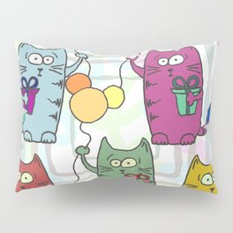 Funny colorful cats with gifts and inflatable balls in their paws Pillow Sham