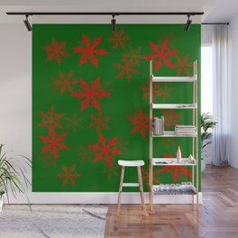 Snowflakes red Wall Mural
