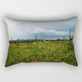 Texas Wildflowers - Retro Style Art of Flowers Along Fenceline Rectangular Pillow