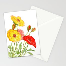 red and yellow  poppies Stationery Cards