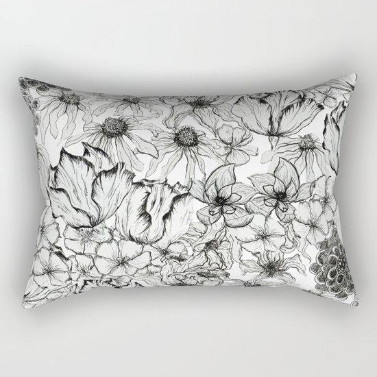 Ink Flowers Rectangular Pillow