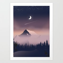 Misty Mountains. Art Print