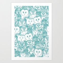 just owls teal blue Art Print