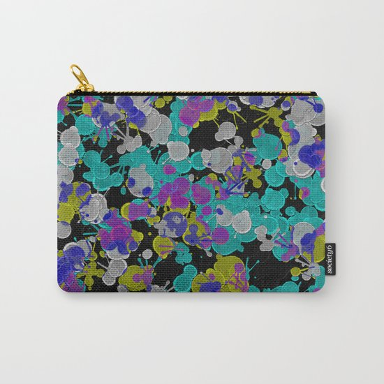 Dark Splatter - Abstract, paint splatter pattern in black, cyan, yellow, white and green Carry-All Pouch