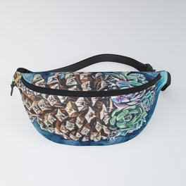 Pine cone and succulents, blue and green flowers, watercolor painting Fanny Pack