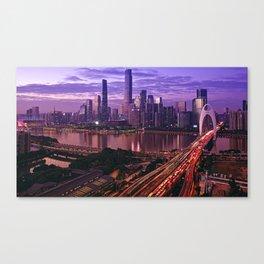 Famous Liede Bridge Pearl River Guangzhou Guangdong China Pazhou Haizhu Tianhe Ultra HD Canvas Print