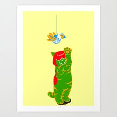 Here Battle Kitty Kitty Art Print