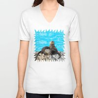 otters V-neck T-shirts featuring Where the River Meets the Sea Otters by Distortion Art