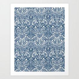 William Morris Navy Blue Botanical Pattern 4 Art Print