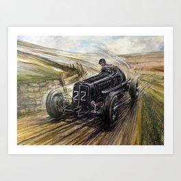 Vintage Racing Car Illustration In Black Art Print