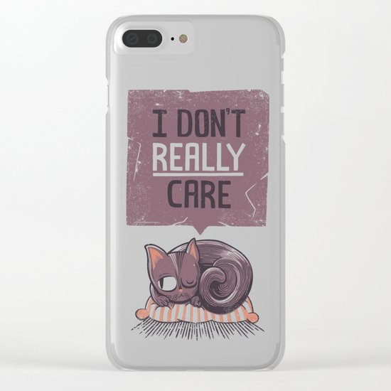 I Dont Care Cat Clear iPhone Case
