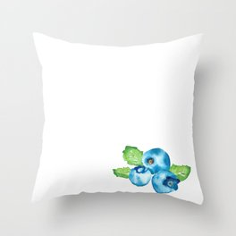 Watercolour Blueberry Throw Pillow